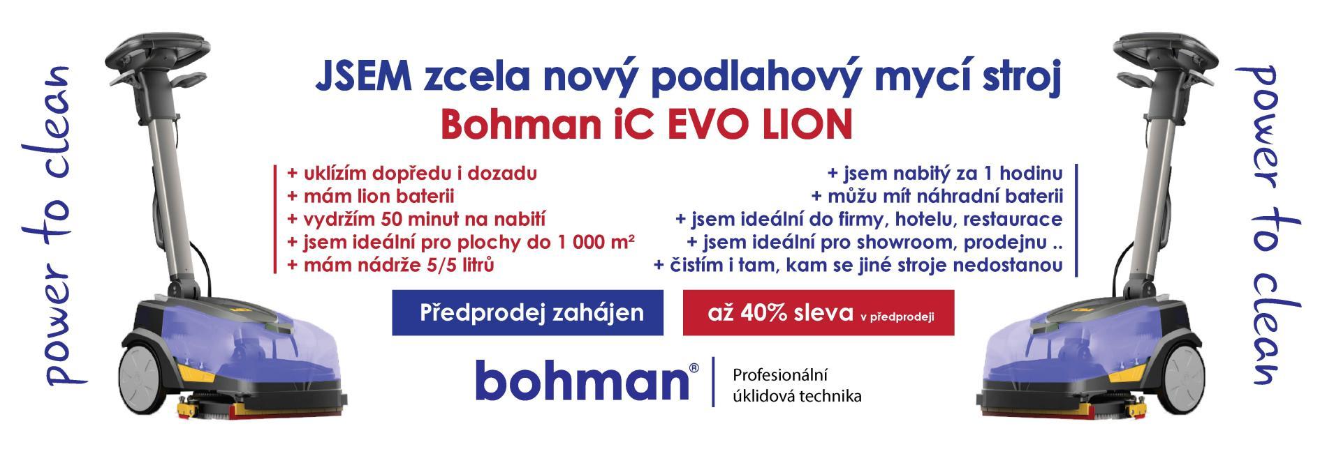 Jsem zcela nový podlahový mycí stroj s odsáváním Bohman iC EVO LION