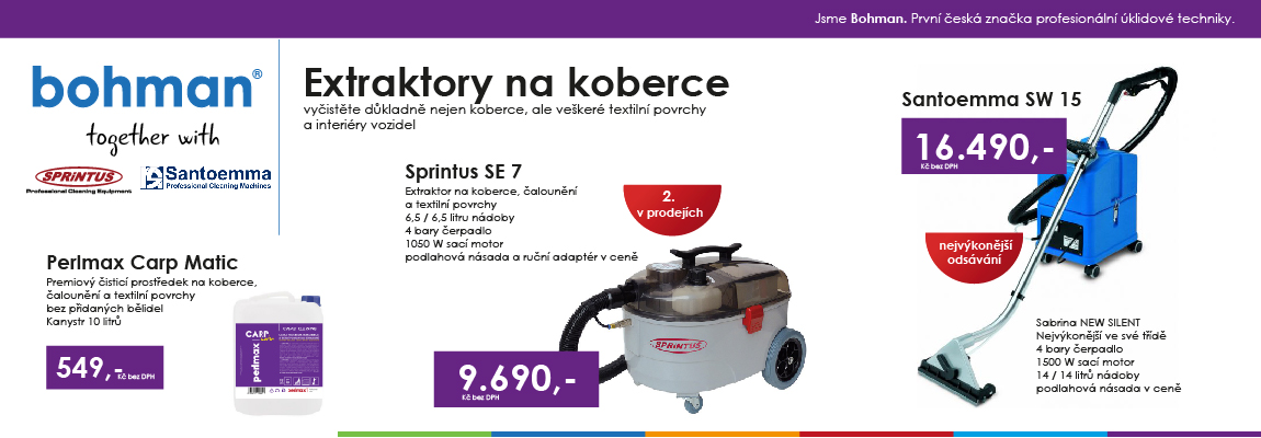 Extraktory na koberce Sprintus a Santoemma