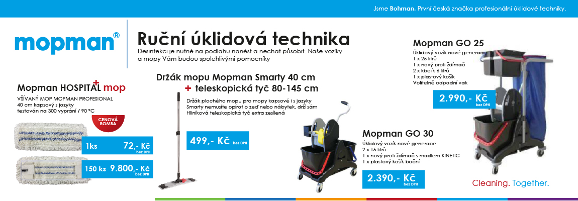 Mopman - ruční úklidová technika - mopy, vozíky, držáky, tyče